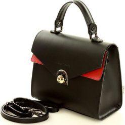 Elegancka torebka kuferek skóra MAZZINI - Amarena czarny. Czarne kuferki damskie marki MAZZINI, w paski, ze skóry. Za 249,00 zł.