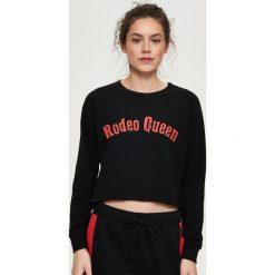 Bluzy rozpinane damskie: Krótka bluza - Czarny