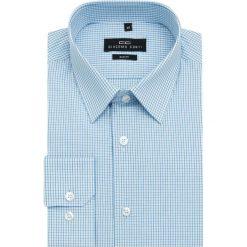 Koszula SIMONE KDNS000119. Niebieskie koszule męskie na spinki marki Giacomo Conti, m, w kratkę, z bawełny, z klasycznym kołnierzykiem. Za 169,00 zł.