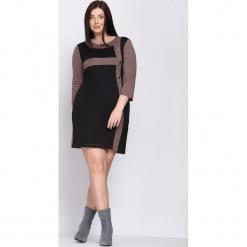 Czarno-Brązowa Sukienka Since You're Gone. Brązowe sukienki marki Born2be, na jesień, xl, midi, oversize. Za 39,99 zł.