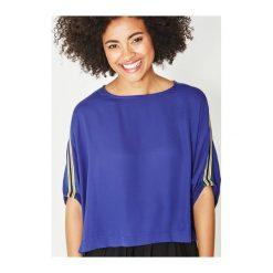 Bluzka damska. Niebieskie bluzki koszulowe Promod, eleganckie, z krótkim rękawem. Za 83,50 zł.