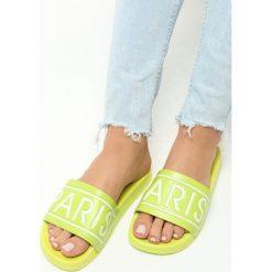 Limonkowe Klapki Paris Look. Brązowe klapki damskie marki Born2be, z materiału, na obcasie. Za 19,99 zł.