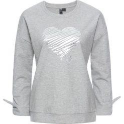 Bluzy rozpinane damskie: Bluza z połyskującym nadrukiem bonprix jasnoszary melanż - srebrny z nadrukiem