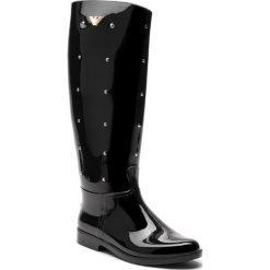 Kalosze EMPORIO ARMANI - X3O168 XL533 K002 Black/Gold. Czarne buty zimowe damskie Emporio Armani, z materiału. Za 1239,00 zł.