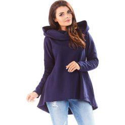 Bluzy damskie: Granatowa Bluza Asymetryczna z Kapturem