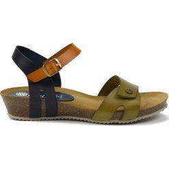 Rzymianki damskie: Skórzane sandały w kolorze granatowo-pomarańczowo-oliwkowym