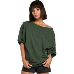 Bluzki damskie: Zielona Bluzka z Zakładanym Kopertowo Ściągaczem
