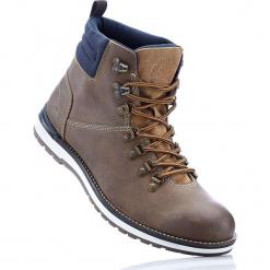 Kozaki skórzane sznurowane bonprix brązowy. Brązowe buty zimowe męskie marki bonprix, na sznurówki. Za 219,99 zł.