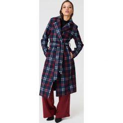 NA-KD Classic Długi płaszcz w kratę - Multicolor,Navy. Niebieskie płaszcze damskie NA-KD Classic, w paski. Za 323,95 zł.