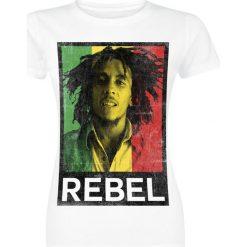 Bob Marley Rasta Rebel Koszulka damska biały. Czarne bluzki damskie marki Bob Marley, m, z nadrukiem, z okrągłym kołnierzem. Za 99,90 zł.