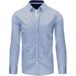 Koszule męskie: Granatowa koszula męska w paski (dx1061)