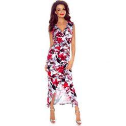 PATRYCJA Sukienka z asymetrycznym drapowaniem czerwone kwiaty. Czerwone długie sukienki Bergamo, na imprezę, s, w kwiaty, eleganckie, z asymetrycznym kołnierzem, bez rękawów, asymetryczne. Za 172,99 zł.
