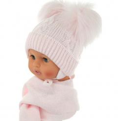 Czapka niemowlęca z szalikiem CZ+S 016C. Szare czapeczki niemowlęce Proman. Za 47,14 zł.