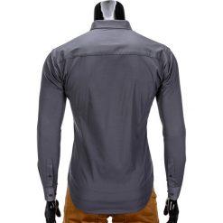 KOSZULA MĘSKA ELEGANCKA Z DŁUGIM RĘKAWEM K219 - GRAFITOWA. Brązowe koszule męskie na spinki marki Ombre Clothing, m, z aplikacjami, z kontrastowym kołnierzykiem, z długim rękawem. Za 49,00 zł.