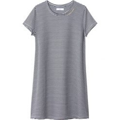 Sukienka-koszulka w paski 10-16 lat. Szare bluzki dziewczęce bawełniane marki La Redoute Collections, w paski, z okrągłym kołnierzem, z krótkim rękawem. Za 52,88 zł.