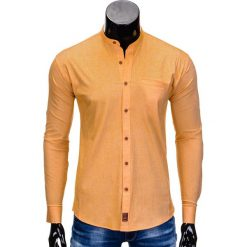 KOSZULA MĘSKA Z DŁUGIM RĘKAWEM K353 - POMARAŃCZOWA. Brązowe koszule męskie na spinki Ombre Clothing, m, bez wzorów, z bawełny, z kontrastowym kołnierzykiem, z długim rękawem. Za 59,00 zł.