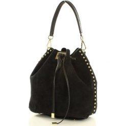 EVELINA Torebka skóra sakwa dżety MARCO MAZZINI - czarna. Czarne torebki worki MAZZINI, ze skóry, zdobione. Za 279,00 zł.