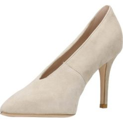 Czółenka SAVONA. Brązowe buty ślubne damskie Gino Rossi, w geometryczne wzory, ze skóry, na wysokim obcasie, na szpilce. Za 139,90 zł.