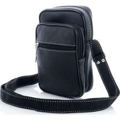 Czarna skórzana męska raportówka - Torba na ramię. Czarne torby na ramię męskie marki Abruzzo, ze skóry. Za 59,00 zł.