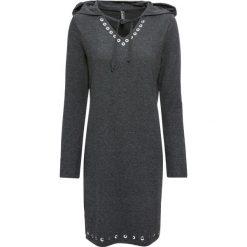 Sukienka shirtowa z kapturem bonprix antracytowy melanż. Czarne sukienki z falbanami marki bonprix, w koronkowe wzory. Za 89,99 zł.
