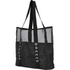 Torba plażowa TPL200 - głęboka czerń. Czarne torby plażowe marki 4f, w paski, z materiału. Za 59,99 zł.