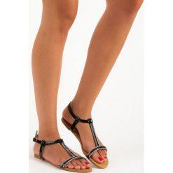 Rzymianki damskie: Lakierowane płaskie sandałki ABLOOM czarne
