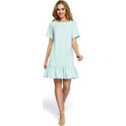 Sukienki: Sukienka z falbaną – miętowa