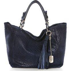 Shopper bag damskie: Skórzany shopper bag w kolorze granatowym - 42 x 30 x 20 cm