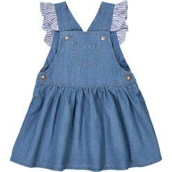 Sukienka na szelkach, 1 mies. - 3 lata. Niebieskie sukienki dziewczęce marki La Redoute Collections, z bawełny, z krótkim rękawem, krótkie, mini. Za 88,16 zł.