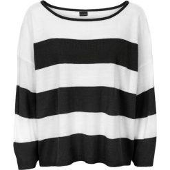 "Sweter oversize ""boxy"" bonprix czarno-biel wełny. Czarne swetry oversize damskie bonprix, z wełny. Za 74,99 zł."