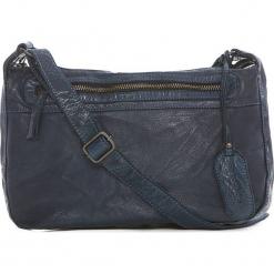 Skórzana torebka w kolorze granatowym - 26 x 21 x 9 cm. Niebieskie torebki klasyczne damskie neropantera, w paski, z materiału. W wyprzedaży za 250,95 zł.