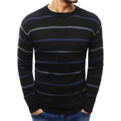 Swetry klasyczne męskie: Sweter męski w paski czarny (wx1021)