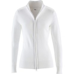 Sweter rozpinany bonprix biały. Białe golfy damskie bonprix, w prążki, z bawełny. Za 54,99 zł.