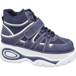 Sneakersy damskie Catwalk niebieskie. Niebieskie sneakersy damskie marki Catwalk, z materiału. Za 139,90 zł.