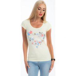 Bluzki, topy, tuniki: Cytrynowy t-shirt z nadrukiem 6785