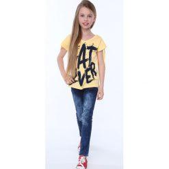 Bluzki dziewczęce z krótkim rękawem: Bluzka dziewczęca z krótkim rękawem i napisem żółta NDZ81690
