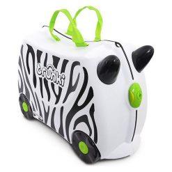 Walizeczka Jeżdżąca Zwierzątko Zebra. Szare walizki marki Trunki, z motywem zwierzęcym. Za 129,79 zł.
