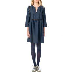 Długie sukienki: Krótka sukienka, rozkloszowana, rozszerzana, gładka, z długim rękawem