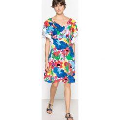 Sukienki hiszpanki: Sukienka rozszerzana z nadrukiem w kwiaty, długość midi
