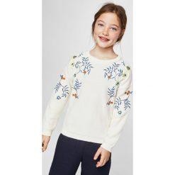 Mango Kids - Sweter dziecięcy Garden 110-164 cm. Szare swetry dziewczęce Mango Kids, z bawełny, z okrągłym kołnierzem. W wyprzedaży za 49,90 zł.