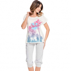 Piżama w kolorze biało-szarym - t-shirt, spodnie. Białe piżamy damskie Doctor Nap, s. W wyprzedaży za 67,95 zł.