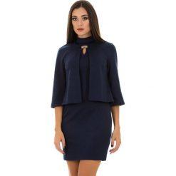 Kardigany damskie: 2-częściowy zestaw w kolorze niebieskim – narzutka, sukienka