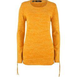 Sweter melanżowy z ozdobnym marszczeniem bonprix miodowy melanż. Żółte swetry klasyczne damskie marki Mohito, l, z dzianiny. Za 37,99 zł.