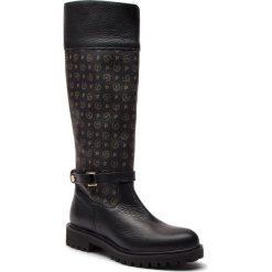 Oficerki POLLINI - TA26013G04Q1100A Tapiro/Vit.Nero. Czarne buty zimowe damskie Pollini, ze skóry ekologicznej, przed kolano, na wysokim obcasie. Za 1279,00 zł.
