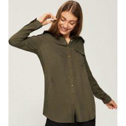 Koszula z kieszeniami - Khaki. Brązowe koszule damskie Sinsay, m. Za 59,99 zł.