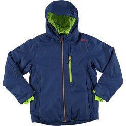Kurtka narciarska w kolorze niebiesko-limonkowym. Niebieskie kurtki chłopięce marki CMP Kids. W wyprzedaży za 155,95 zł.