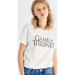 T-shirt Game of Thrones - Biały. Białe t-shirty damskie Sinsay, l. Za 39,99 zł.
