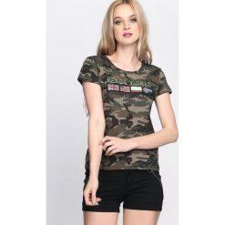 T-shirty damskie: Ciemnozielony-Moro T-shirt Warrior Woman