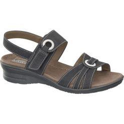 Sandały damskie Easy Street czarne. Czarne sandały damskie marki Easy Street, z materiału, na obcasie. Za 99,90 zł.