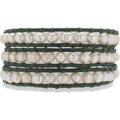Bransoletki damskie: Skórzana bransoletka w kolorze oliwkowym z perłami słodkowodnymi